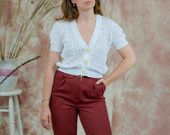 Sweater top short sleeve cardigan white crochet cropped vintage M/L