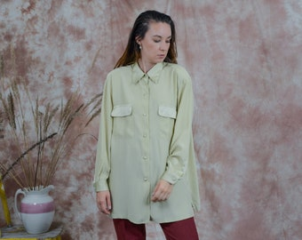 Silk shirt long sleeve embroidered yellow blouse collared puffy shoulders vintage XXXL/XXXXL