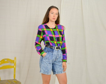 Retro shirt 80's vintage printed blouse women black purple rainbow long sleeve geometric button up down padded shoulders L/XL