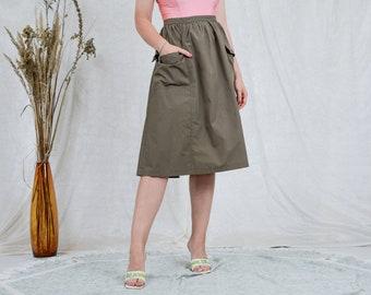 Military skirt W32 vintage high waist 80s pleated khaki green pockets L/XL
