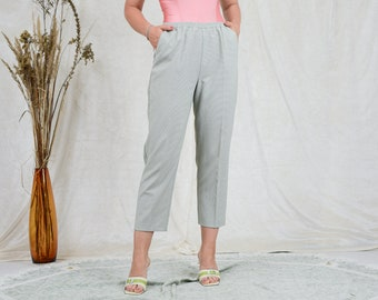 Gray pants houndstooth vintage trousers tapered leg elastic waist XXL