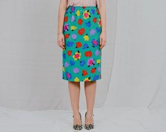 FINK skirt printed Vintage 80's rainbow flowers metallic high waist multi colour floral M/L