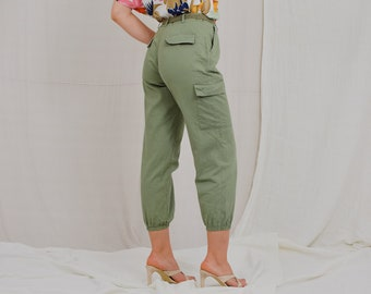 Military pants Vintage green cargo jeans alladin relaxed fit trousers pockets capri high waist vintage 90's L/XL