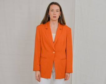 Orange blazer Vintage 80's viscose jacket padded shoulders tail coat retro oversized XL