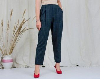 Blue green check pants W31 L28 vintage St Bernard trousers tapered leg grunge punks tartan XL/XXL