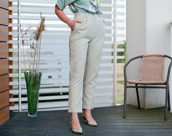 Striped pants beige Vintage 80's trousers mod high waist summer pleated straight fit leg M Medium