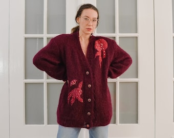 Mohair sweater Vintage 80's burgundy cardigan red hairy patchwork handmade full lined Wool chunky Button up oversized XXL/XXXL