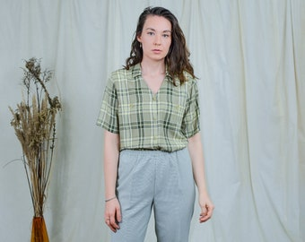 Green check shirt short sleeve checkered top linen Bonita 90s vintage L Large