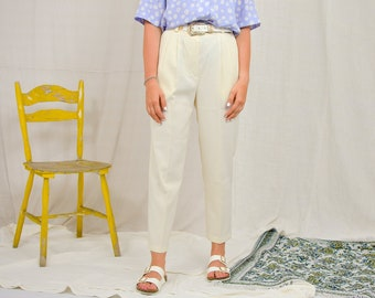 White pants Vintage 90's Super high waist trousers mod french minimalism creamy beige tapered leg elastic waist M/L