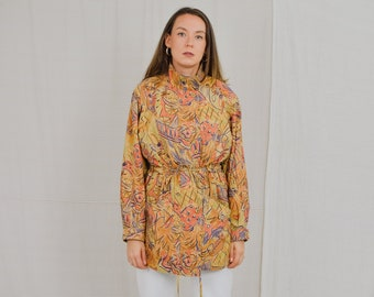 Printed short coat Vintage 80's jacket multi colour tied waist orange windbreaker spring autumn women oversized L Large