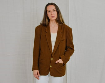 Brown blazer Vintage Jor Fashion 80's wool jacket padded shoulders tail coat retro oversized XL/XXL