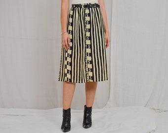 Zebra skirt vintage 80's PREMIER Classics retro striped black yellow clothing women printed XL/XXL