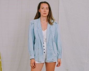 Miss Astor denim jacket vintage 80's light blue jeans women oversized M/L