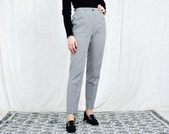 Black white check pants vintage super high waist trousers tapered leg grunge punks tartan elastic waist L Large