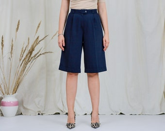 Navy blue shorts W30-32 bermuda vintage super high waist 90s summer wool elegant pants L/XL
