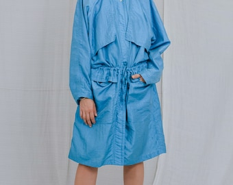 Blue nylon coat Vintage 80's parka tied waist minimalist spring autumn women oversized XL/XXL