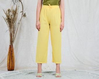 Yellow pants relaxed fit sun wide leg high waist vintage elastic waist L Large