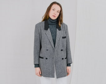 Wool blazer vintage gray suit black elegant jacket checkered women formal event minimalist padded shoulders L/XL