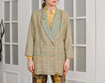 Houndstooth blazer Vintage 90's green beige lined tail coat tartan wool jacket retro L/XL