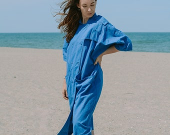 Blue cotton dress vintage oversized minimalist summer nature clothing short sleeve XXXL