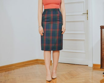 Tartan skirt Vintage 90s super high waist scottish Checkered classic woman lined S Small