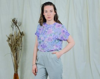Floral top blouse vintage 80s heather shirt flowers pattern purple short sleeve XL