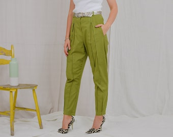 Green pants military trousers Vintage tapered leg women super high waist L Large