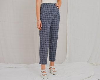 Checkered pants wool high waist trousers checkered Sylbo vintage grunge mod blue tartan straight fit leg XL