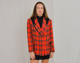 Mawit blazer red checkered tail coat elegant vintage 80's tweed jacket gold buttons XL