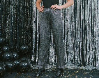Disco pants silver relaxed fit Vintage 90s bright gray metallic high waist wide leg L Large