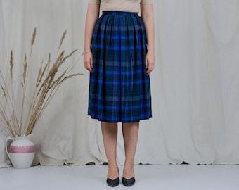 Pure new wool skirt W27 pleated vintage 80s tartan high waist scottish checkered grunge woman M Medium