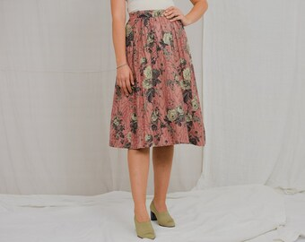 Printed skirt vintage 80's floral salmon flowers pleated XS/S