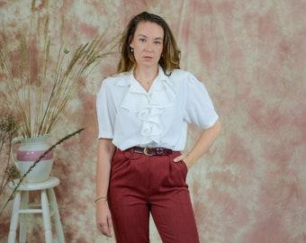 White ruffle shirt short sleeve white frill blouse vintage puffy padded shoulders XL