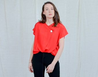 Red top vintage 80s blouse white button short sleeve retro viscose XXL/XXXL