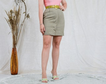 Pure new wool skirt W27 gray melange mini vintage classic woman S/M