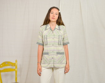 Summer shirt Vintage 90's linen viscose Polka dots checkered beige blouse short sleeve Printed top button up down M/L