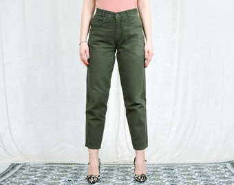 Green mom jeans W29 L29 tapered leg pants high waist vintage 90s trousers M/L