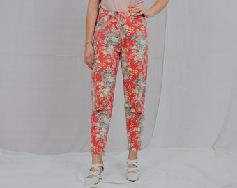 Floral jeans W32 L28 mom printed pants Vintage 90's high waisted red flowers patterned trousers tapered leg L Large