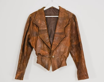 Patchwork leather jacket brown Vintage 80's retro women M Medium