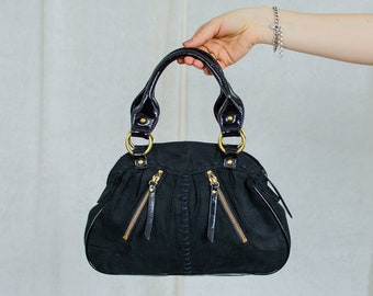 Black faux suede handbag vintage 90s bag women
