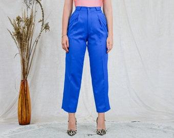 Cornflower mom pants W26 L29 super high waist pleated blue trousers cigarillos wool vintage 80s straight leg S Small