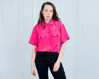 Pink shirt women love collared vintage short sleeve top 90s blouse XXL