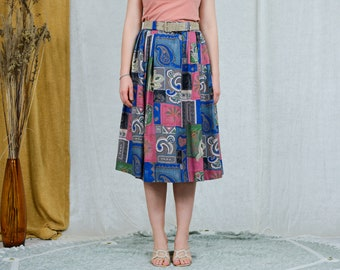 LOTZ skirt vintage abstract printed pleated 80s boho lined viscose women XXL
