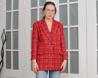 Red blazer Vintage Checkered jacket tartan lined tail coat retro L Large
