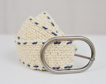 Cotton Braided belt vintage beige and metal buckle