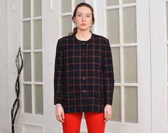 Pure New Wool blazer Viyella Vintage 80's navy blue tartan jacket women Checkered lined retro XXL