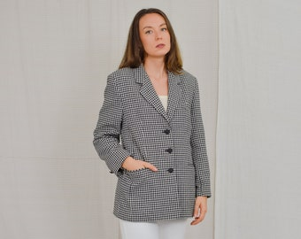 Black white blazer checkered tail coat wool elegant vintage 80's tweed jacket black buttons XL/XXL
