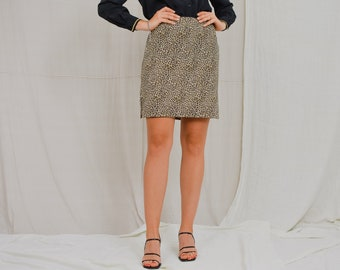 Leopard mini skirt Vintage 90's printed animal print women M/L