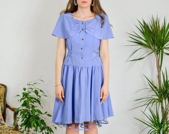 80's party dress Vintage blue button up short sleeve tied waist padded shoulders L