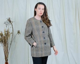 Retro jacket wool checkered tweed blazer vintage beige houndstooth women lined retro L/XL